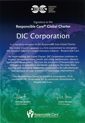 DIC is a signatory to the International Council of Chemical Associations' Responsible Care Global Charter
